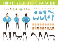 Set For Creation Of Businessman. Set for creation of cartoon businessman with various emotions hairstyles gestures and legs positions isolated vector Royalty Free Stock Image