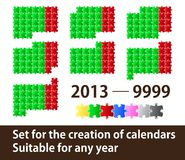 Set for creation of calendars. From puzzle pieces Stock Image
