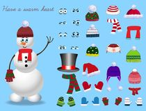 Set for creation cute cartoon snowman character. Christmas and new year set for creating snowman. Eyes, emotions, hats, scarves, mittens. Cute winter clothes Stock Photo