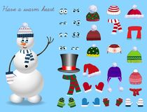 Set for creation cute cartoon snowman character. Christmas and new year set for creating snowman. Eyes, emotions, hats, scarves, mittens. Cute winter clothes Royalty Free Stock Photography