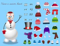 Set for creation cute cartoon snowman character. Christmas and new year set for creating snowman. Eyes, emotions, hats, scarves, mittens. Cute winter clothes Royalty Free Stock Image