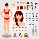 Set for creation unique female character. Full body, face, eyes. Eyebrows, hairstyle, lips, accessories isolated on white background. Vector illustration, clip Stock Image