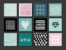 Set of 12 creative art cards. Hand Drawn textures made with ink. Vector. . royalty free illustration