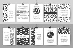 Set of creative black and white vintage cards Stock Photography