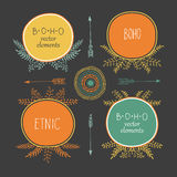 Set of creative Boho style Frames mady by Ethnic. Arrows and Floral Elements Stock Photography