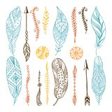 Set of creative Boho style Frames mady by Ethnic. Stock Images