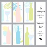 A set of creative brochures for a bar or alcohol store. Bottles and glasses in a minimalist style. Tropical leaves and abstract spots Royalty Free Stock Photos