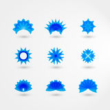 Set of creative business symbols in blue color. Royalty Free Stock Image