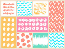 Set of creative cards with blots and scribbles Stock Photography