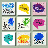 Set of creative cards drawn by hand with paint. The text of the manual, ink. Stock Image