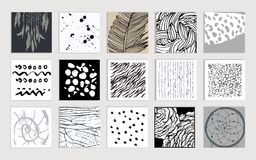 Set of creative cards. Hand Drawn textures made Royalty Free Stock Photo