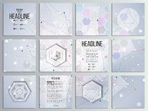 Set of 12 creative cards, square brochure template Royalty Free Stock Image