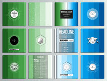 Set of 12 creative cards, square brochure template design. Abstract colorful business background, blue and green colors. Modern stylish striped vector texture royalty free illustration