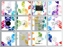 Set of 12 creative cards, square brochure template design. Abstract colorful business background, modern stylish. Hexagonal and triangle vector texture vector illustration