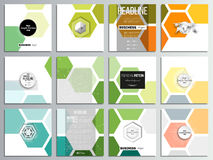 Set of 12 creative cards, square brochure template design. Abstract colorful business background, modern stylish hexagonal vector texture stock illustration