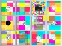 Set of 12 creative cards, square brochure template design. Abstract colorful business background, modern stylish vector. Texture vector illustration
