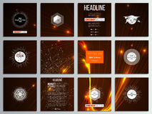 Set of 12 creative cards, square brochure template design. Abstract lines background, dynamic glowing decoration, motion Royalty Free Stock Photos