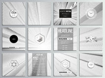Set of 12 creative cards, square brochure template design. Abstract lines background, simple abstract monochrome texture.  royalty free illustration