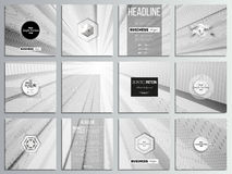 Set of 12 creative cards, square brochure template design. Abstract lines background, simple monochrome texture.  royalty free illustration