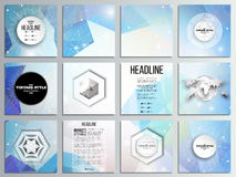 Set of 12 creative cards, square brochure template. Design. Abstract multicolored background. Scientific digital design, science vector illustration royalty free illustration