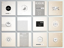 Set of 12 creative cards, square brochure template design. Abstract polygonal low poly backdrop with connecting dots and lines, connection structure. Vector or royalty free illustration