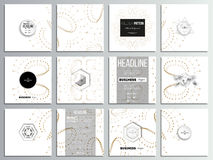 Set of 12 creative cards, square brochure template design. Abstract polygonal low poly backdrop with connecting dots and. Set of 12 creative cards, square royalty free illustration