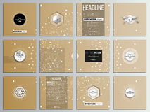 Set of 12 creative cards, square brochure template design. Abstract polygonal low poly backdrop with connecting dots and. Lines, golden background, connection stock illustration
