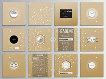 Set of 12 creative cards, square brochure template design. Abstract polygonal low poly backdrop with connecting dots and. Lines, golden background, connection royalty free illustration