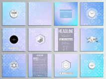 Set of 12 creative cards, square brochure template. Design. Abstract white circles on light blue background, vector illustration Stock Images