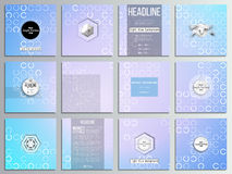 Set of 12 creative cards, square brochure template. Design. Abstract white circles on light blue background, vector illustration Stock Photo