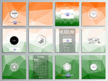 Set of 12 creative cards, square brochure template design. Background for Happy Indian Independence Day celebration with Ashoka wheel and national flag colors stock illustration