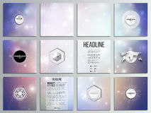 Set of 12 creative cards, square brochure template Stock Photography