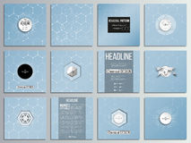 Set of 12 creative cards, square brochure template design. Chemistry pattern, hexagonal design vector illustration.  Royalty Free Stock Photos