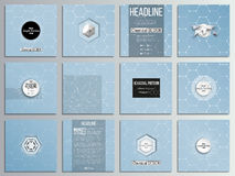 Set of 12 creative cards, square brochure template design. Chemistry pattern, hexagonal vector illustration. Set of 12 creative cards, square brochure template Royalty Free Stock Images