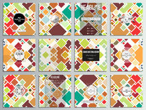 Set of 12 creative cards, square brochure template design. Colored vector background Royalty Free Stock Image