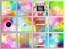 Set of 12 creative cards, square brochure template design. Colorful background for Holi celebration, vector illustration Stock Image