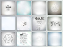 Set of 12 creative cards, square brochure template Stock Photo