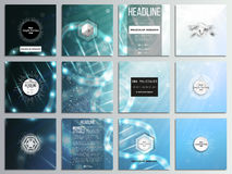 Set of 12 creative cards, square brochure template design. DNA molecule structure, a blue background. Set of 12 creative cards, square brochure template design Stock Image