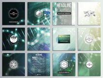 Set of 12 creative cards, square brochure template design. DNA molecule structure on dark green background. Science vector background Stock Images