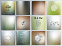 Set of 12 creative cards, square brochure template. Design, geometric backgrounds set, abstract blurred colorful vector patterns Royalty Free Stock Photography