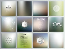 Set of 12 creative cards, square brochure template. Design, geometric backgrounds set, abstract hexagonal colorful vector patterns Royalty Free Stock Photos