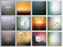 Set of 12 creative cards, square brochure template. Design, geometric backgrounds set, abstract hexagonal vector patterns Stock Photography