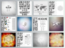 Set of 12 creative cards, square brochure template. Design, geometric backgrounds set, abstract hexagonal vector patterns Royalty Free Stock Photos