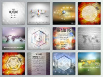 Set of 12 creative cards, square brochure template. Design, geometric backgrounds set, abstract polygonal colorful vector patterns, world map infographics Royalty Free Stock Photos