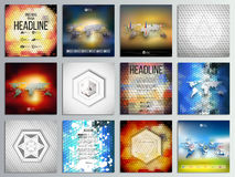 Set of 12 creative cards, square brochure template. Design, geometric backgrounds set, abstract polygonal colorful vector patterns, world map infographics Stock Images