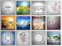 Set of 12 creative cards, square brochure template. Design, geometric backgrounds set, abstract polygonal colorful vector patterns, world map infographics Royalty Free Stock Photo