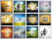 Set of 12 creative cards, square brochure template. Design, geometric science backgrounds set, abstract blurred colorful vector patterns Stock Photo