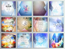 Set of 12 creative cards, square brochure template. Design, geometric science backgrounds set, abstract triangular colorful vector patterns royalty free illustration