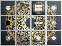 Set of 12 creative cards, square brochure template design. Golden microchip pattern on dark background with connecting. Dots and lines, connection structure Royalty Free Stock Image