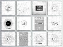 Set of 12 creative cards, square brochure template. Design. Halftone vector background. Abstract halftone effect with black dots on white background stock illustration